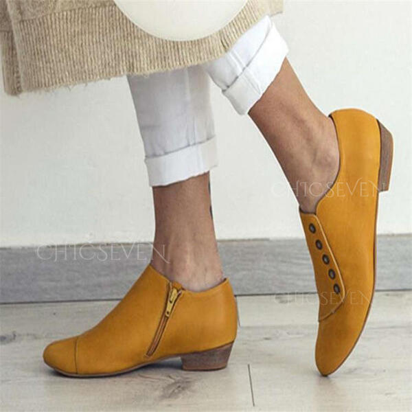 Women's PU Flat Heel Boots Low Top Pointed Toe With Buckle Zipper Solid Color shoes