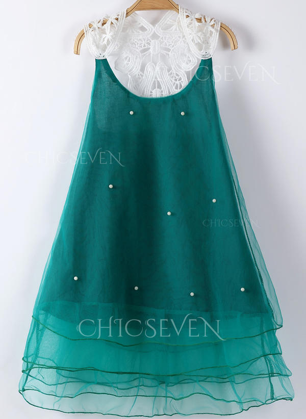 Girls Round Neck Solid Pearls Casual Cute Dress