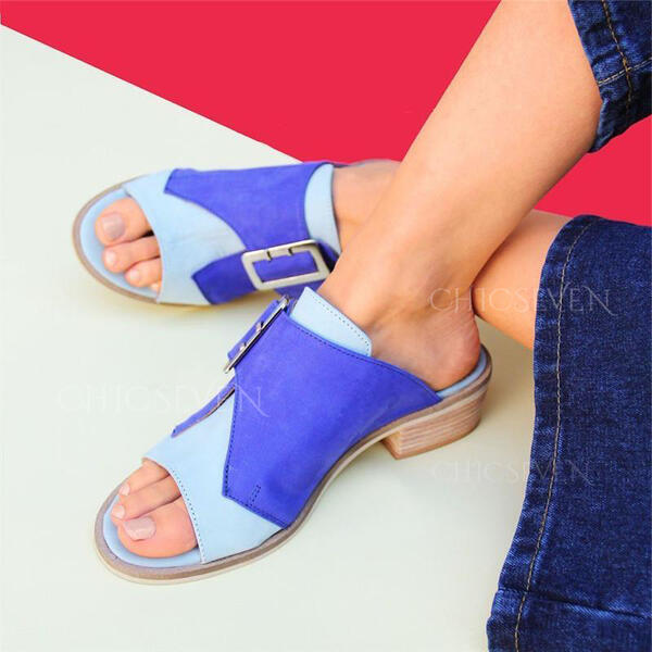 Women's PU Chunky Heel Sandals Peep Toe Slippers With Buckle shoes
