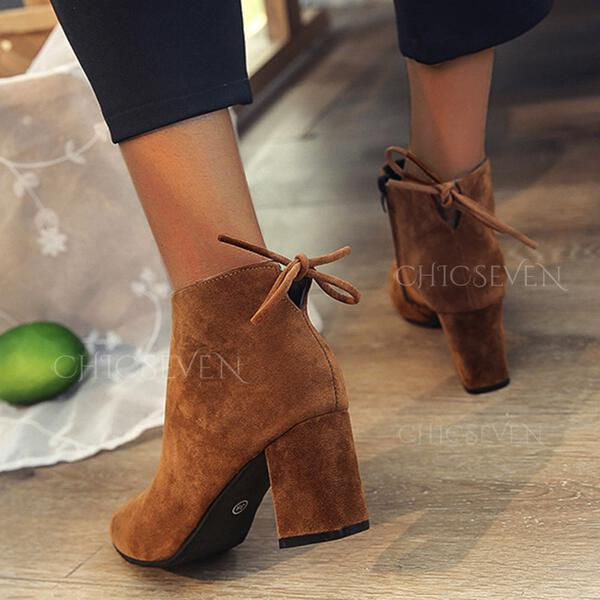 Women's PU Low Heel Chunky Heel Cone Heel Boots Ankle Boots Snow Boots High Top Low Top Pointed Toe With Lace-up Solid Color shoes