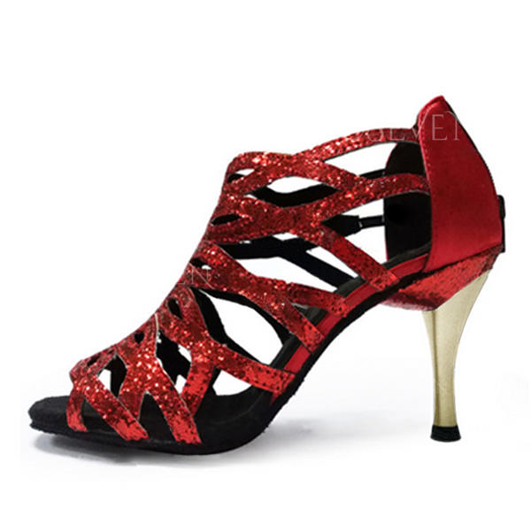 Women's Latin Heels Sandals Leatherette With Ankle Strap Hollow-out Latin