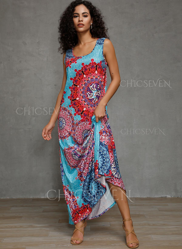 Print/Floral Sleeveless Shift Tank Casual/Boho/Vacation Maxi Dresses