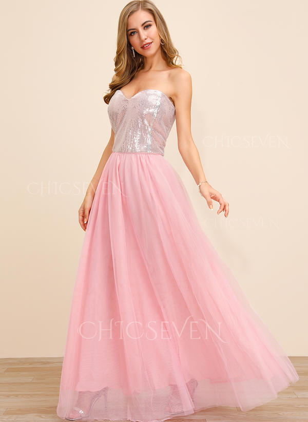 Sequins/Solid Sleeveless A-line Sexy/Party Maxi Dresses