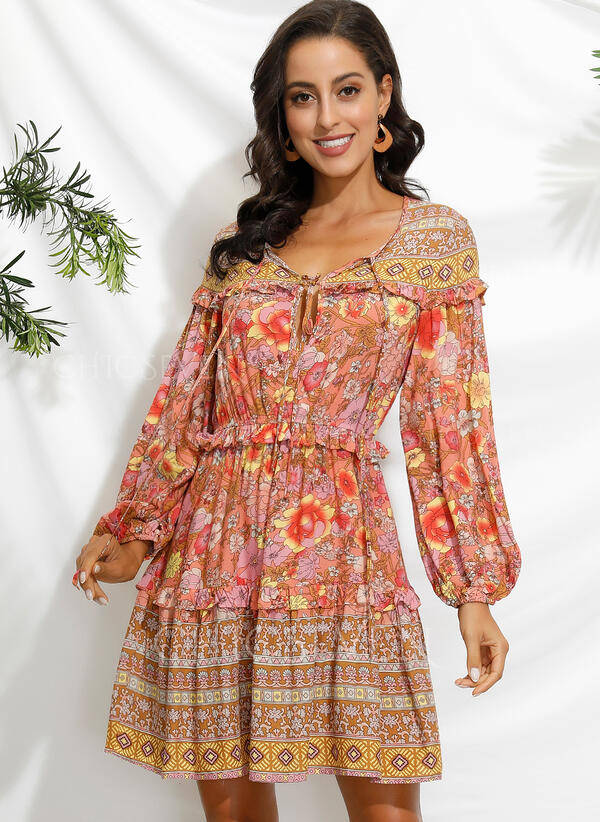 Print/Floral Long Sleeves/Lantern Sleeve A-line Above Knee Casual/Boho/Vacation Skater Dresses