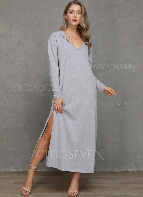 Solid Long Sleeves Shift Sweatshirt Casual Maxi Dresses