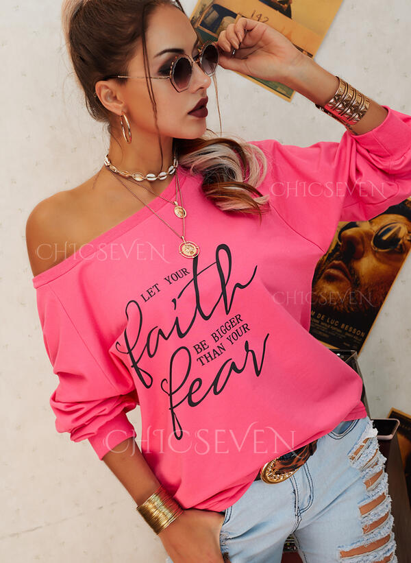 Print Letter One Shoulder Long Sleeves Casual T-shirts