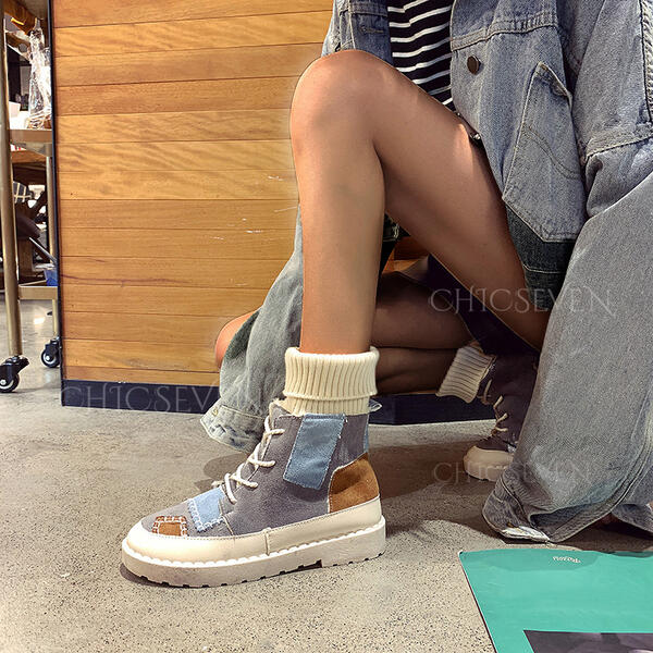 Women's PU Chunky Heel Martin Boots Round Toe With Lace-up Splice Color shoes