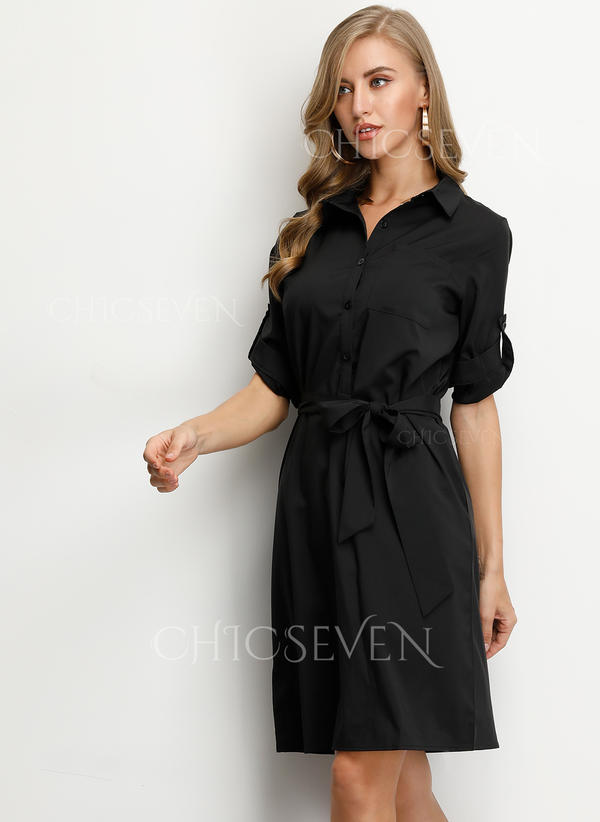 Solid 3/4 Sleeves Sheath Knee Length Little Black Dresses