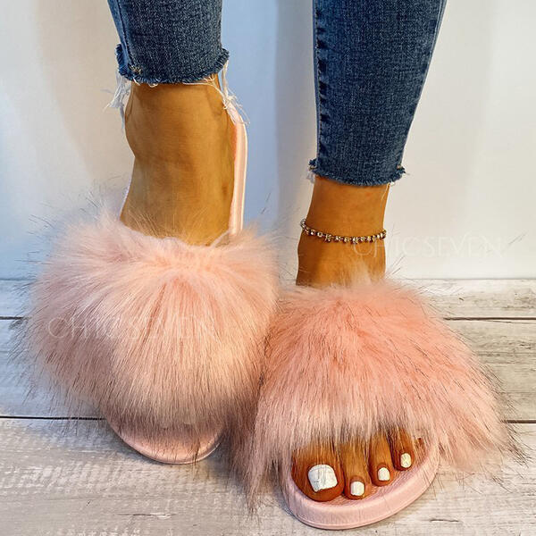Women's Fake fur Flat Heel Sandals Flats Peep Toe Slippers With Faux-Fur Solid Color shoes