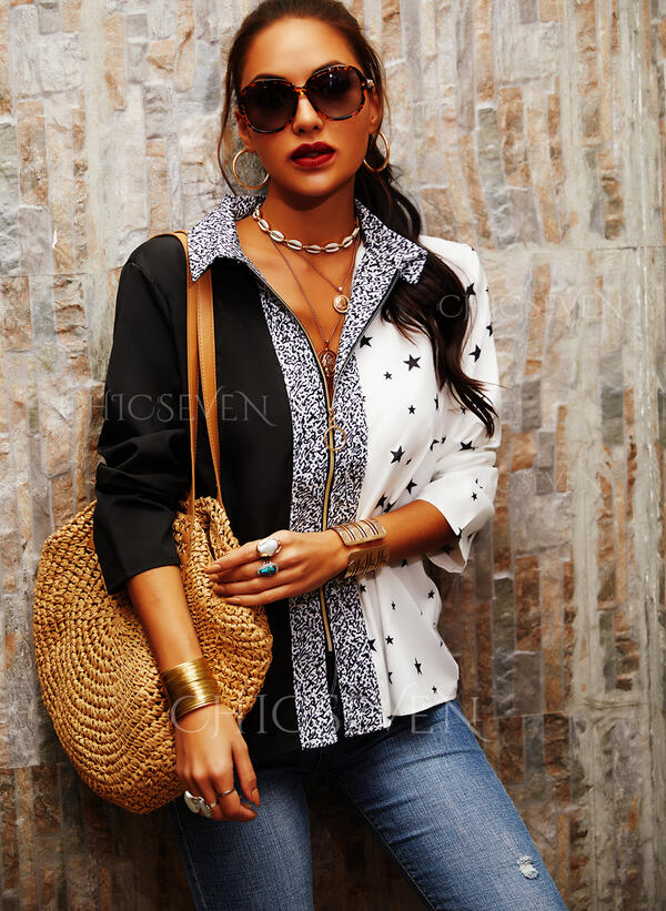 Print Color Block Sequins V-Neck Long Sleeves Casual Blouses