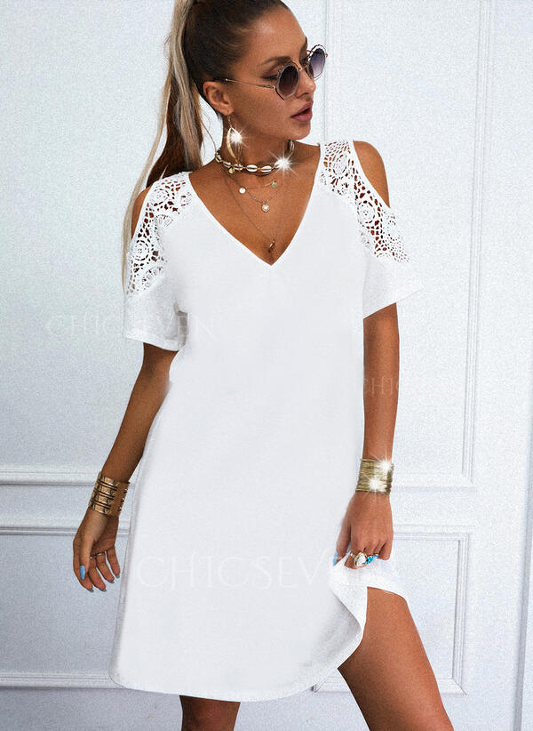 Solid Lace 1/2 Sleeves Cold Shoulder Sleeve Shift Knee Length Casual Tunic Dresses