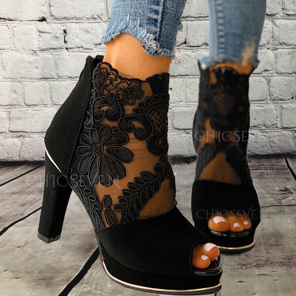 Women's Cloth Mesh Stiletto Heel Sandals Pumps Peep Toe With Bowknot Lace-up Solid Color shoes