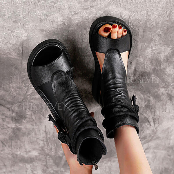 Women's PU Wedge Heel Sandals Peep Toe With Zipper Lace-up Solid Color shoes