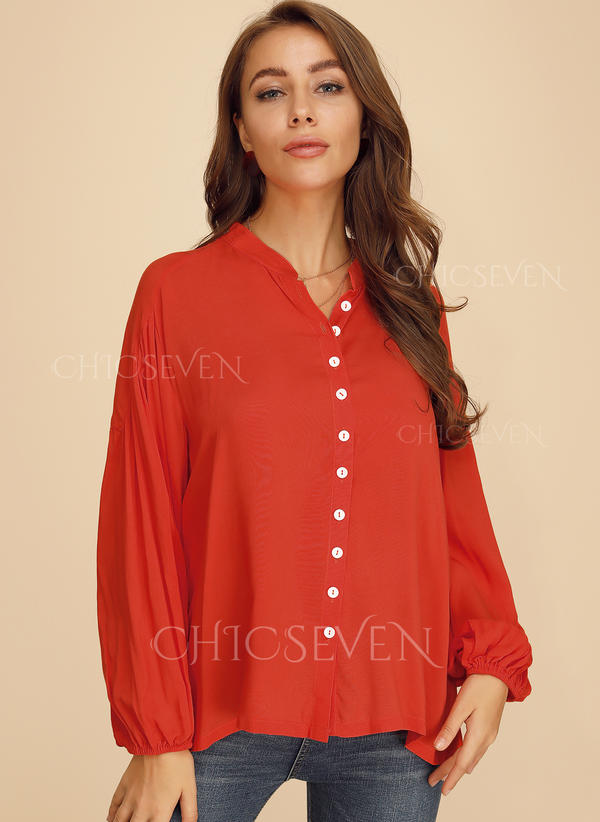Solid V-Neck 1/2 Sleeves Button Up Casual Shirt Blouses