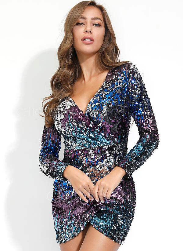 Sequins Long Sleeves Sheath Above Knee Party Dresses