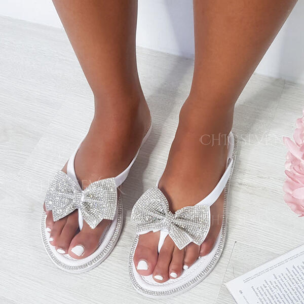 Women's PU Flat Heel Sandals Flip-Flops With Rhinestone Bowknot Hollow-out shoes