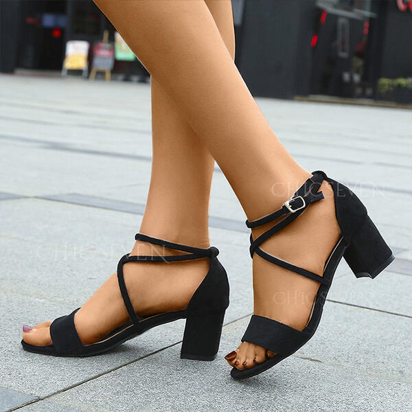 Women's Suede Chunky Heel Sandals Peep Toe With Buckle shoes