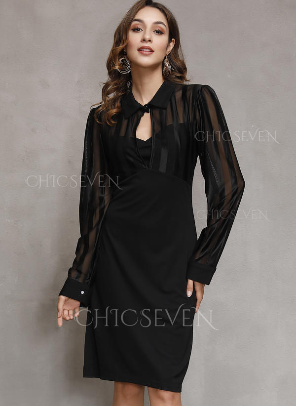 Solid Long Sleeves Bodycon Above Knee Little Black/Casual/Party Dresses