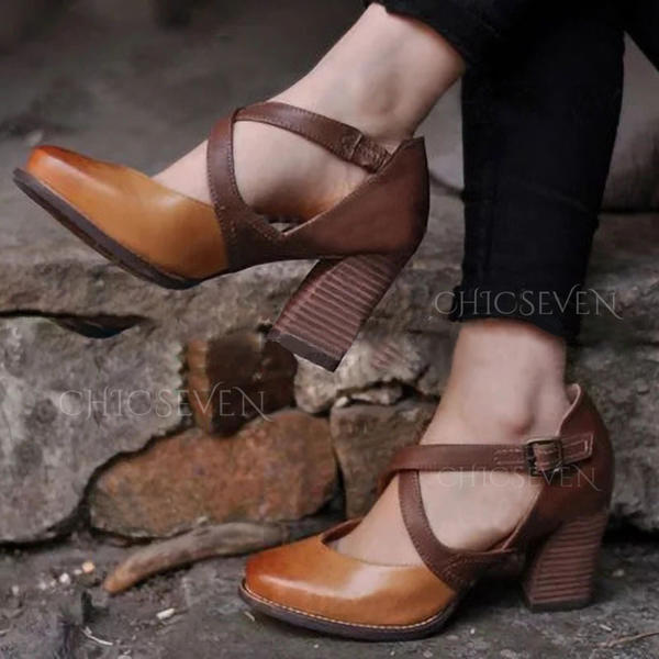 Women's Leatherette PU Chunky Heel Pumps Closed Toe With Buckle shoes