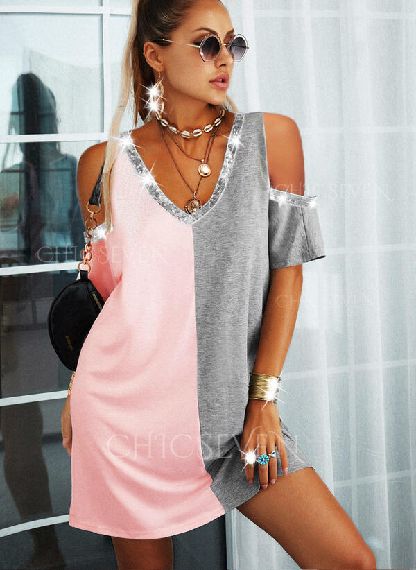 Sequins/Color Block 1/2 Sleeves Shift Above Knee Casual Tunic Dresses