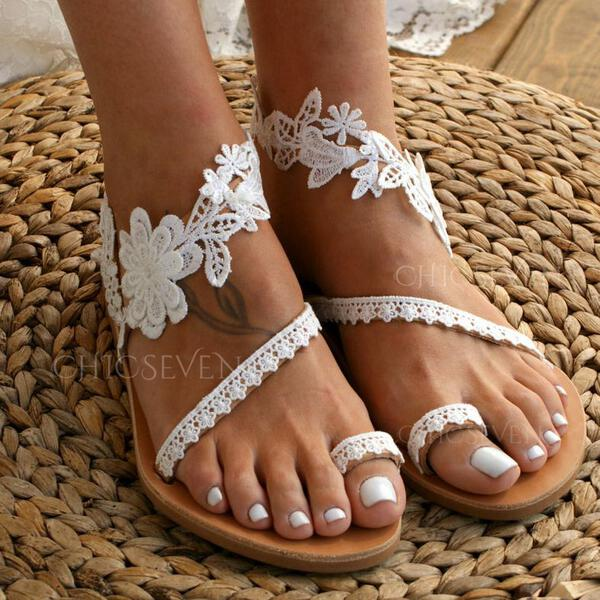 Women's Leatherette Flat Heel Sandals Flats Toe Ring With Stitching Lace Flower shoes