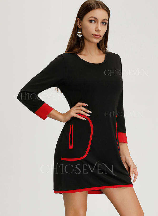Solid 3/4 Sleeves A-line Above Knee Little Black/Casual Dresses