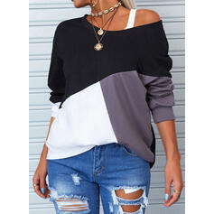 Color Block One-Shoulder Long Sleeves Casual T-shirts