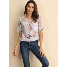 Floral Animal Print V-Neck Short Sleeves Button Up Casual Elegant Blouses