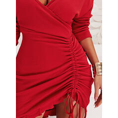 Solid Long Sleeves Bodycon Above Knee Sexy Dresses