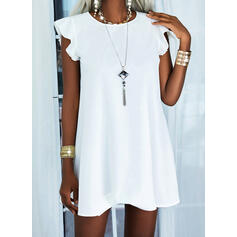 Solid Short Sleeves Small Flying Sleeve Shift Knee Length Casual Dresses