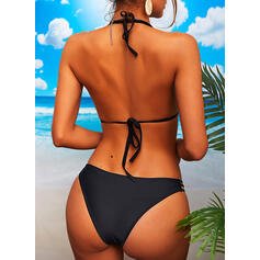 Solid Color Lace Up Halter Elegant Attractive Bikinis Swimsuits