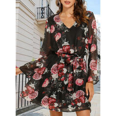 Print/Floral Long Sleeves A-line Above Knee Casual Skater Dresses