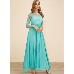 Lace/Solid 3/4 Sleeves A-line Party/Elegant Maxi Dresses