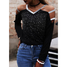 Solid Sequins Cold Shoulder Long Sleeves Cold Shoulder Sleeve Casual Sexy Blouses
