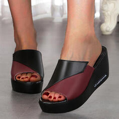 Women's PU Wedge Heel Sandals Platform Wedges Peep Toe Slippers With Letter Colorblock shoes