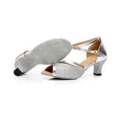 Women's Latin Sandals Leatherette Sparkling Glitter With Ankle Strap Latin