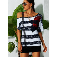 Print Floral Striped One-Shoulder Short Sleeves Casual Blouses