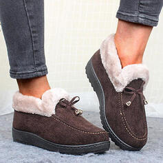 Women's Cloth Flat Heel Ankle Boots Snow Boots Round Toe Winter Boots With Bowknot Solid Color shoes