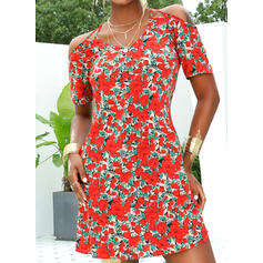 Print/Floral Short Sleeves A-line Above Knee Casual/Vacation Dresses