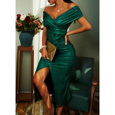 Sequins/Solid Short Sleeves Sheath Party/Elegant Midi Dresses