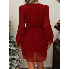 Solid Long Sleeves/Puff Sleeves A-line Above Knee Little Black/Casual Skater Dresses