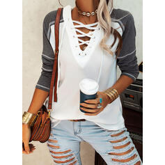 Color Block Lace-up V-Neck Long Sleeves Casual Knit Blouses