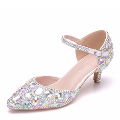 Women's Leatherette Low Heel Closed Toe Pumps Sandals With Crystal