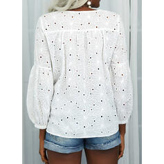 Solid Hollow-out V-Neck Long Sleeves Casual Blouses