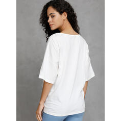 Print V-Neck 1/2 Sleeves Casual T-shirts