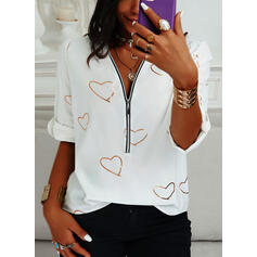 Print Heart V-Neck Long Sleeves Button Up Casual Blouses