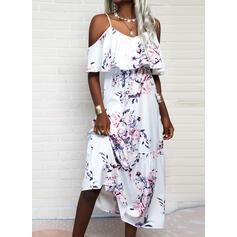 Print/Floral 1/2 Sleeves A-line Skater Casual Maxi Dresses