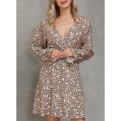 Print Long Sleeves A-line Above Knee Casual/Party Skater Dresses