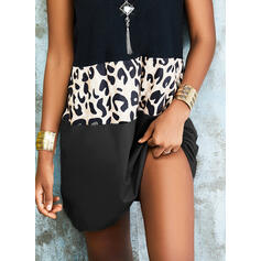 Color Block/Leopard Sleeveless Shift Above Knee Casual Tank Dresses