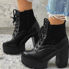 Women's PU Chunky Heel Ankle Boots Martin Boots Round Toe With Lace-up Solid Color shoes